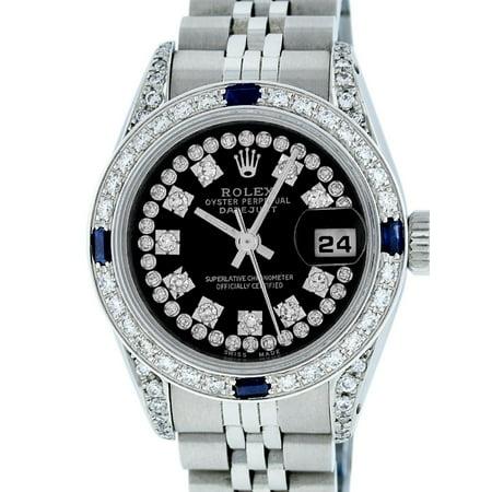Pre-Owned Rolex Ladies Datejust Steel & 18K White Gold Black Diamond & Sapphire Watch Jubilee