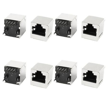 Unique Bargains 8 Pcs Cat5 Network Ethernet Shielded PCB Mount RJ45 8P8C Socket