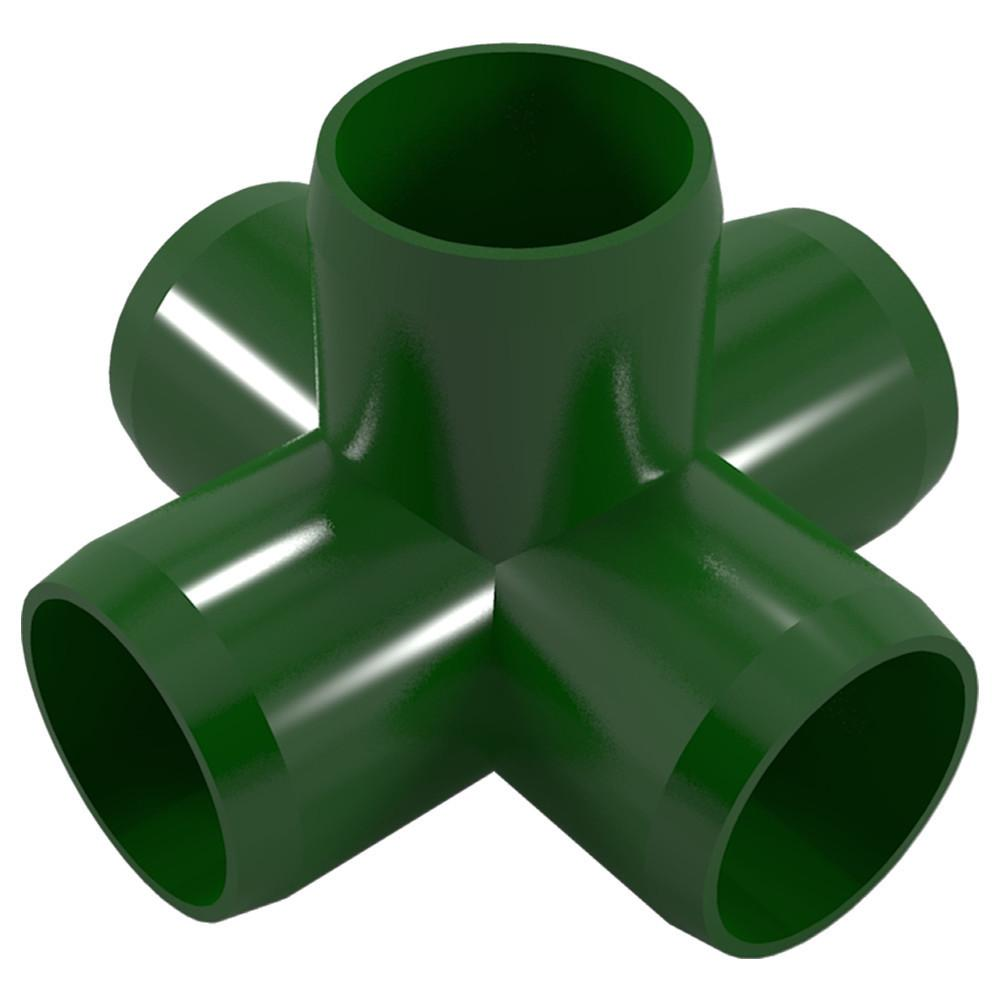 "5-Way PVC Cross Fitting, Furniture Grade, 1"" Size, White (Pack of 4)"