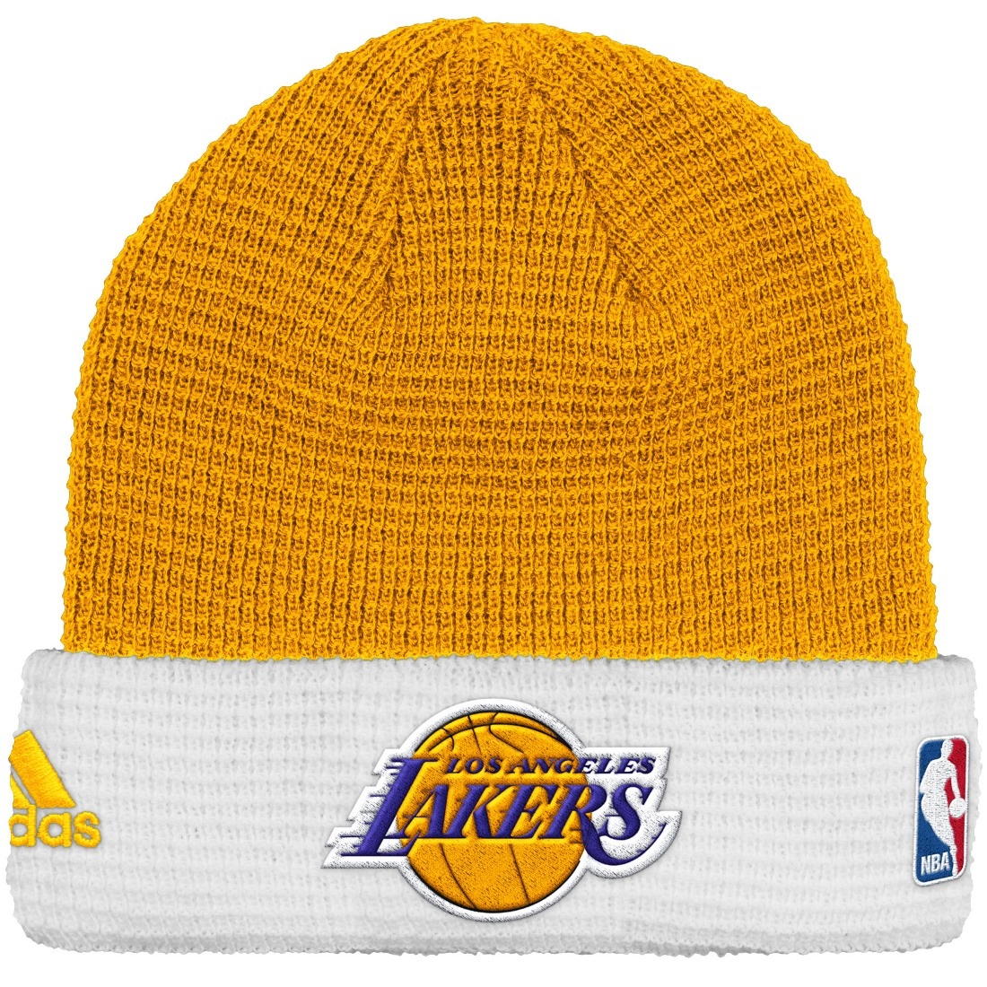 Los Angeles Lakers Adidas NBA 2015 Authentic Team Cuffed Knit Hat by Adidas