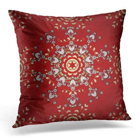 CMFUN Ancient Classic Golden Pattern Floral Brocade Glass Metal with on Red White and Black Colors with Antique Pillow Case Pillow Cover 20x20 inch](Red Brocade)