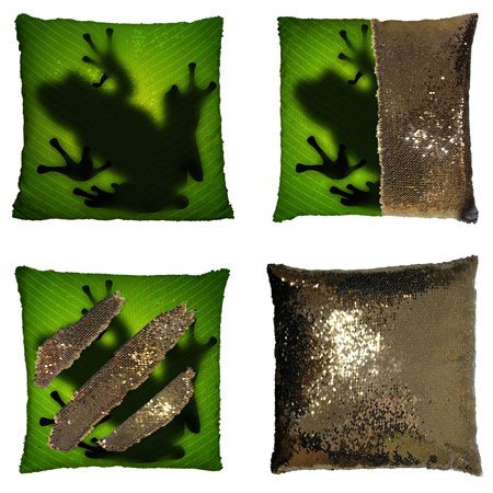 GCKG Frog Shadow Silhouette on the Banana Tree Leaf Reversible Mermaid Sequin Pillow Case Home Decor Cushion Cover 16x16 - Leaf Decor