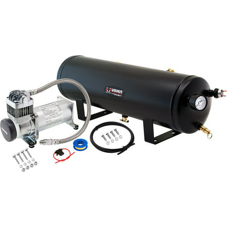 Vixen Horns 3 Gallon (12 Liter) Train/Air Horn Tank with 200 PSI Compressor Onboard System/Kit 12V (Air Compressor 200 Litre Tank 3hp 240v)