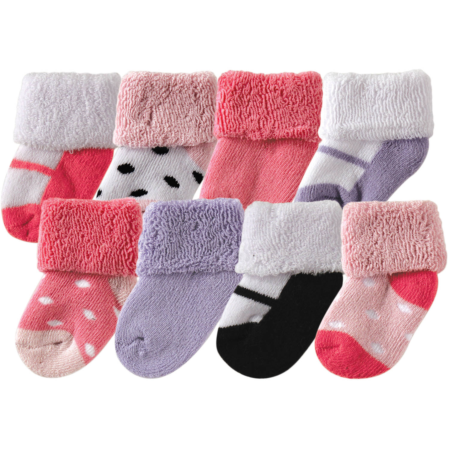 Luvable Friends Newborn Baby Girls Socks 8-Pack