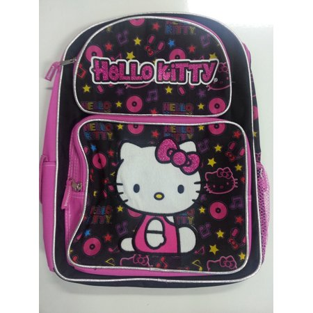 Backpack - Hello Kitty - Musical Black Large School Bag Girls New 828193