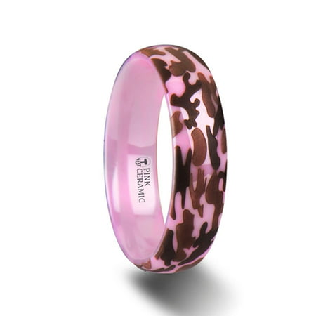 Joan Domed Polished Pink Ceramic Ring With Laser Engraved Camo Pattern
