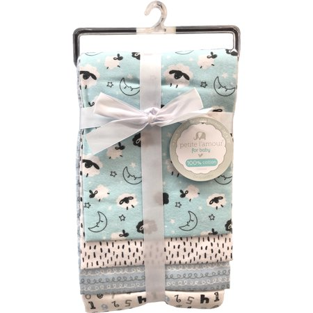 Petite Fit Flannel (Petite L'amour 4-Pack Flannel Receiving Blankets - Blue Lambs )