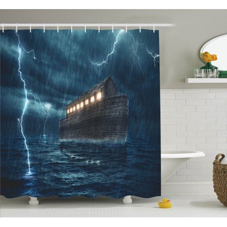 lake house decor shower curtain set old nostalgic wooden boat ship during a rain and lightning storm scary dramatic scene bathroom accessories 69w