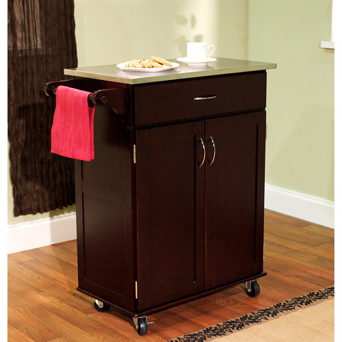 Kitchen Cart with Stainless Steel Top, Multiple Finishes