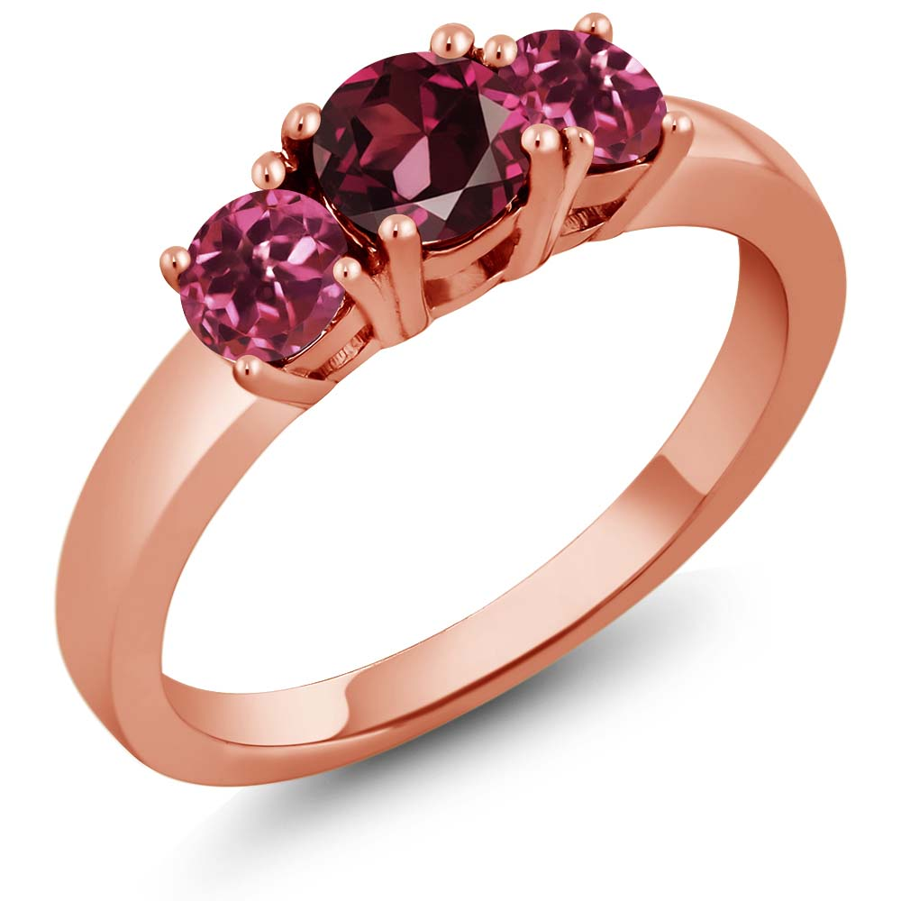 1.08 Ct Round Red Rhodolite Garnet Pink Tourmaline 18K Rose Gold Ring by