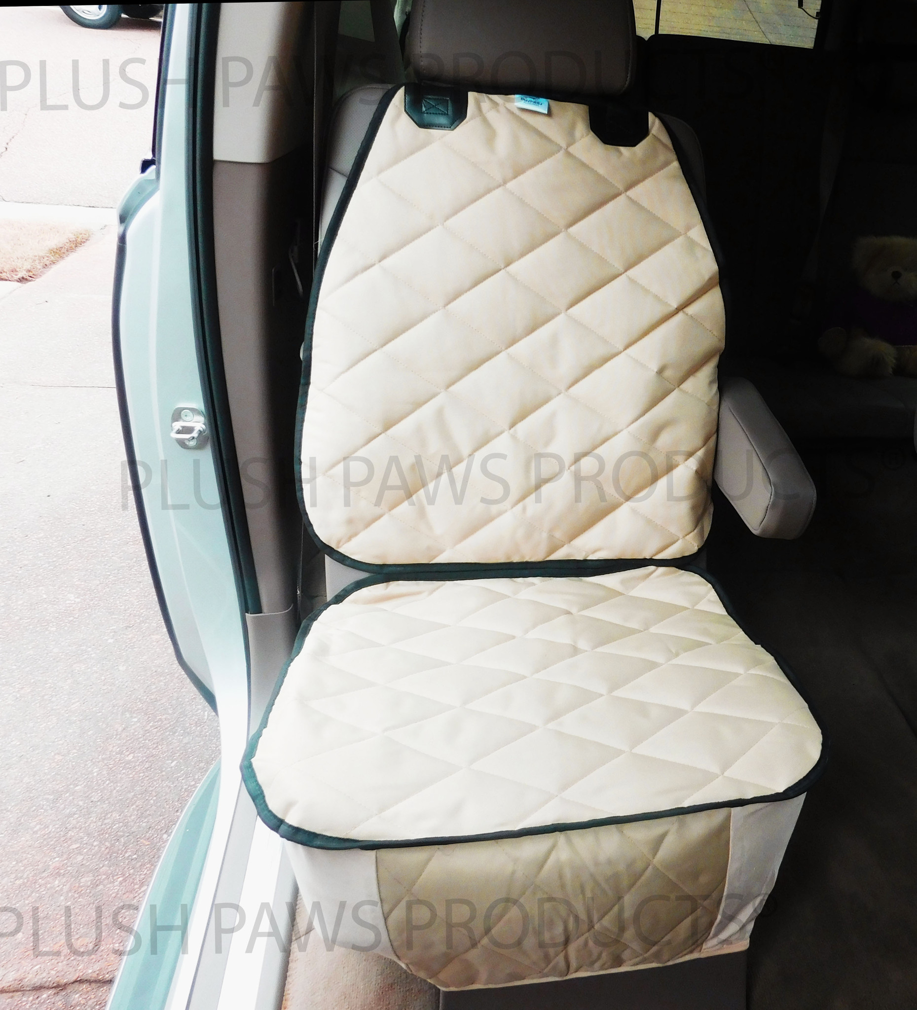 Plush Paws Products Co-Pilot Bucket Car Seat Cover - Tan