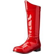 Mens Bright Red Boots with Peaked Front and 1 Inch Flat Heels Costume Footwear