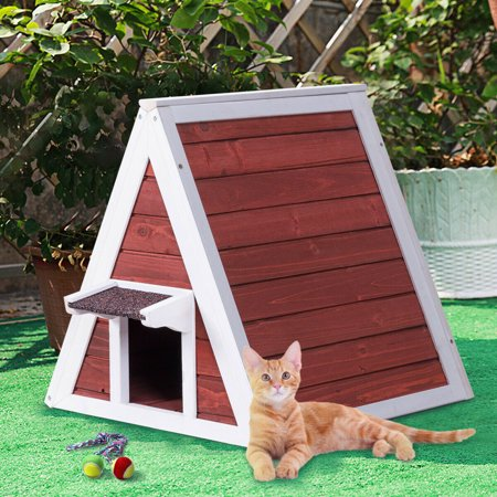 Gymax Weatherproof Wooden Cat House Furniture Shelter Condo with Eave