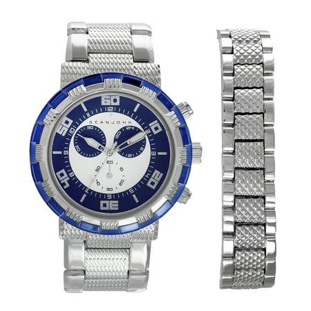 Sean John Mens Watch And Bracelet Set Quartz Analog Display Two Tone Silver And Blue Case Blue Dial Silver Bracelet SJ50026001