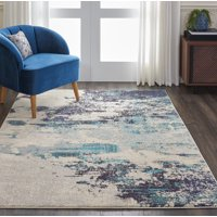 Nourison Celestial Beach Abstract Ivory/Teal Blue Area Rug