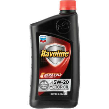 (3 Pack) Chevron Havoline® SAE 5W-20 Motor Oil 1 qt. - Oil 1 Quart Bottle