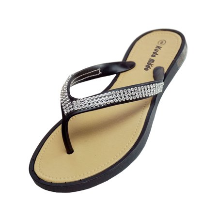 Blue Thongs Sandals Shoes (Women's Summer Bling Shinning Rhinestone Studded Strap Casual Thong Flat Flip Flops Sandals)