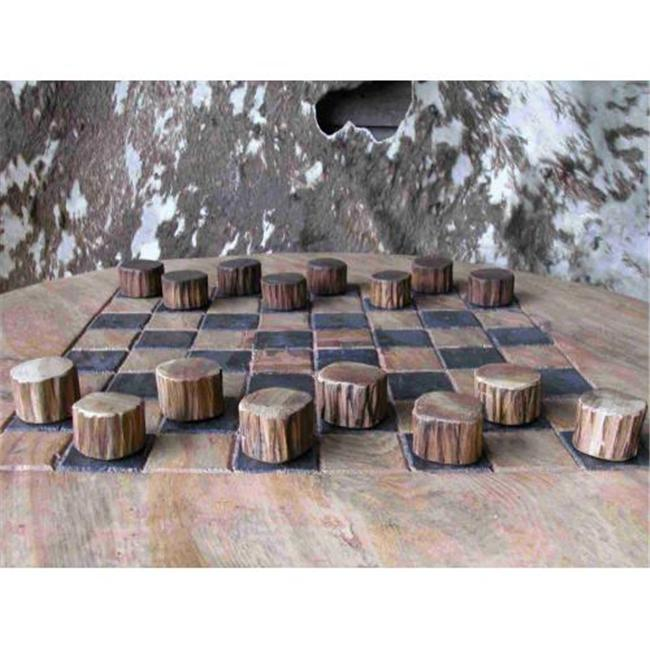 Groovy Stuff Furniture W-0872 Teak Wood Checker Set - Small