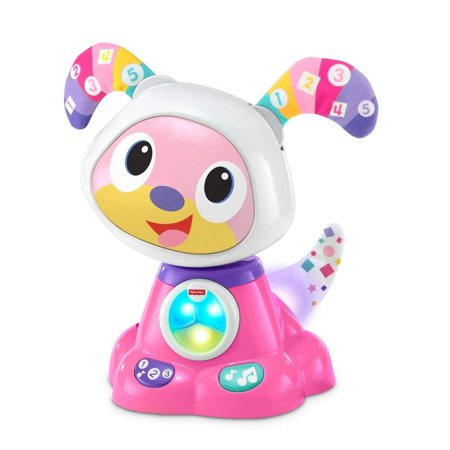 Fisher-Price Bright Beats Dance & Move Beat Bowwow, Pink, Large, multi-color LED grid tummy By