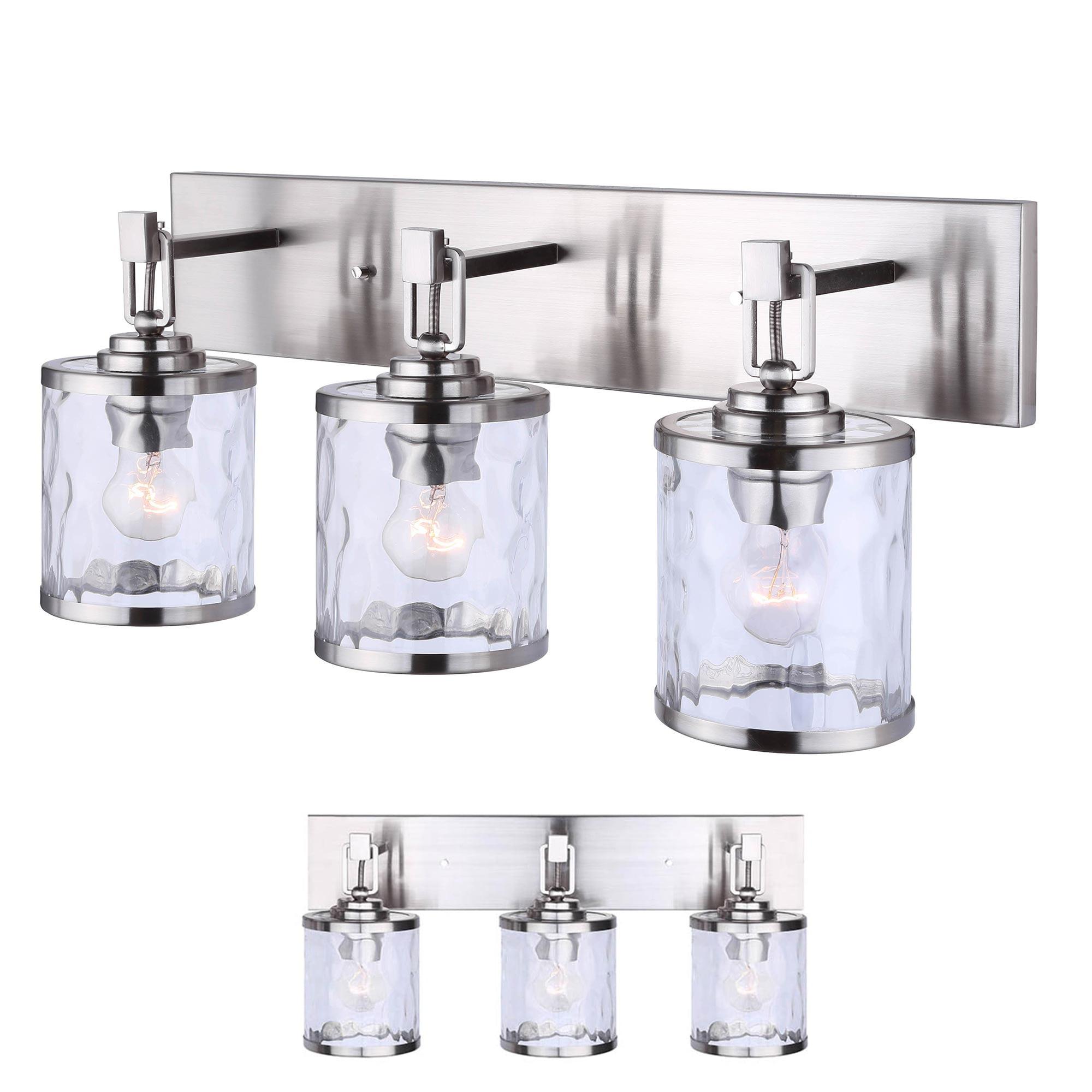 Brushed Nickel Vanity 3 Light Bathroom Fixture Bath Bar, Clear Watermark Glass Globes by How Plumb