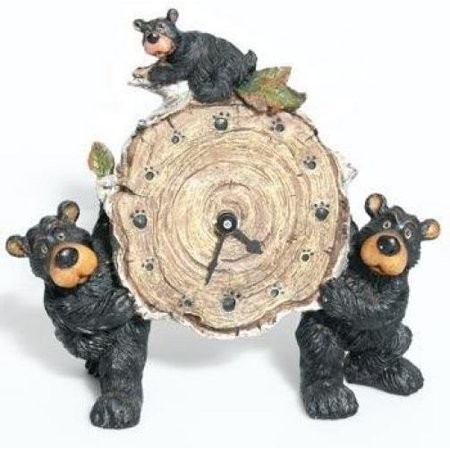 Bears Ncaa Wall Clock - Willie Black Bear with Cub Holding a Birch Log Clock 8