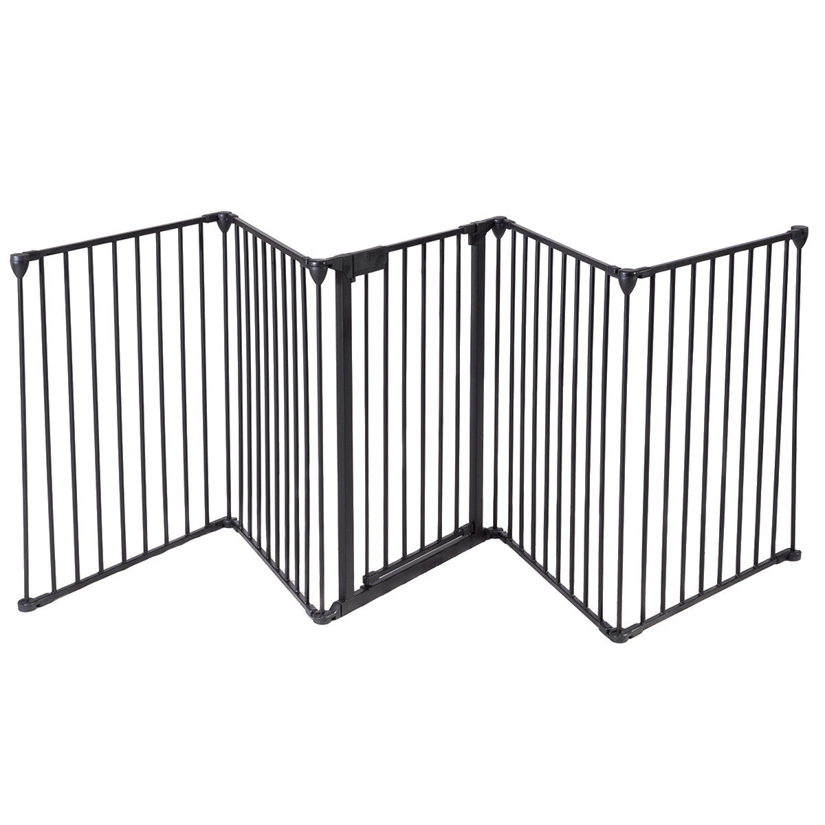 Fireplace Fence Baby Safety Fence Hearth Gate Pet Cat Steel Fire Gate BBQ Black