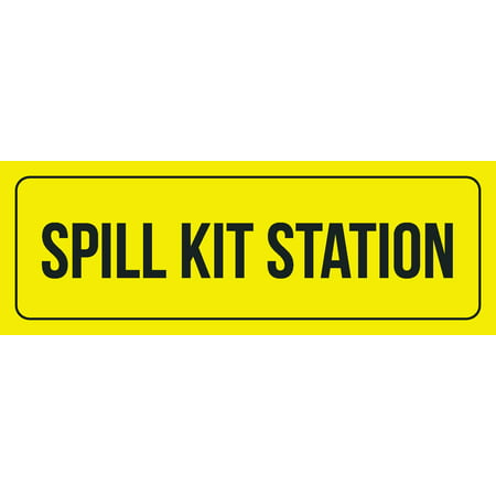 Spill Station Kit (Yellow Background With Black Font Spill Kit Station Office Business Retail Outdoor & Indoor Plastic Wall Sign, 3x9 Inch)