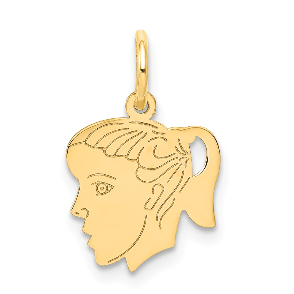 14k Yellow Gold Engravable Girl Head Charm Pendant