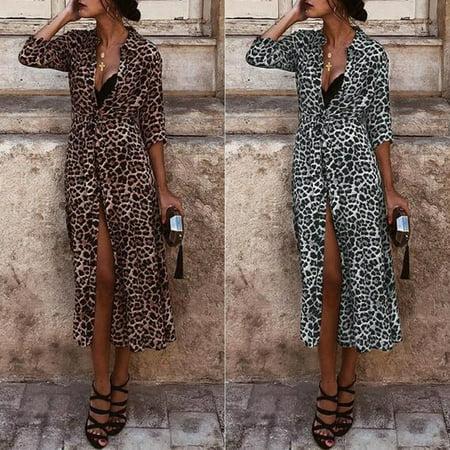 Women Long Sleeve Shirt Maxi Dress Casual Leopard Print V-Neck Slit Belt Dresses