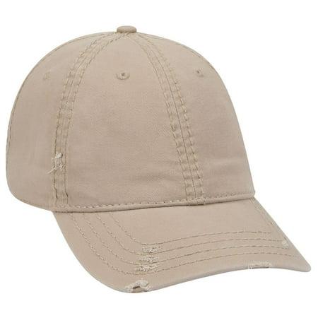 - OTTO Distressed 6 Panel Low Profile Dad Hat - Khaki