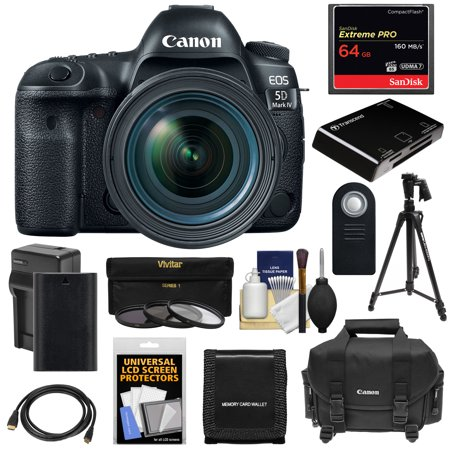 Canon EOS 5D Mark IV 4K Wi-Fi Digital SLR Camera + EF 24-70mm f/4L IS USM Lens with 64GB CF Card + Battery + Charger + Case + 3 Filters + Tripod +