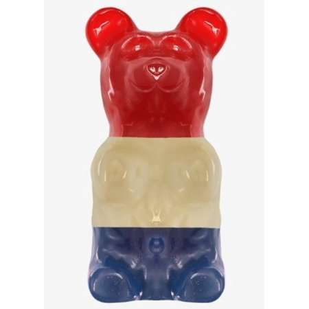 World's Largest Gummy Bear, Approx 5-pounds Giant Gummy Bear - Patriotic, Flavors include Blue Raspberry, Orange, and Cherry By GIANT GUMMY