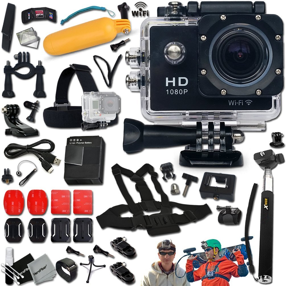 KoolCam AC300 Waterproof ACTION Camera / Camcorder HD 1080p H.264 w/ Wifi + SUPER Accessories Kit Includes: Head Strap + Chest Strap + Helmet Mount + Handheld Extendable MONOPOD Pole + Long Life Batte