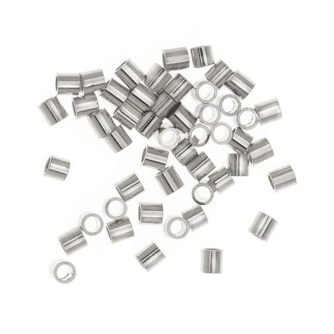 Tube Crimp Beads, 1.5 x 1.5mm, 50 Pieces, Silver Tone Nickel Plated