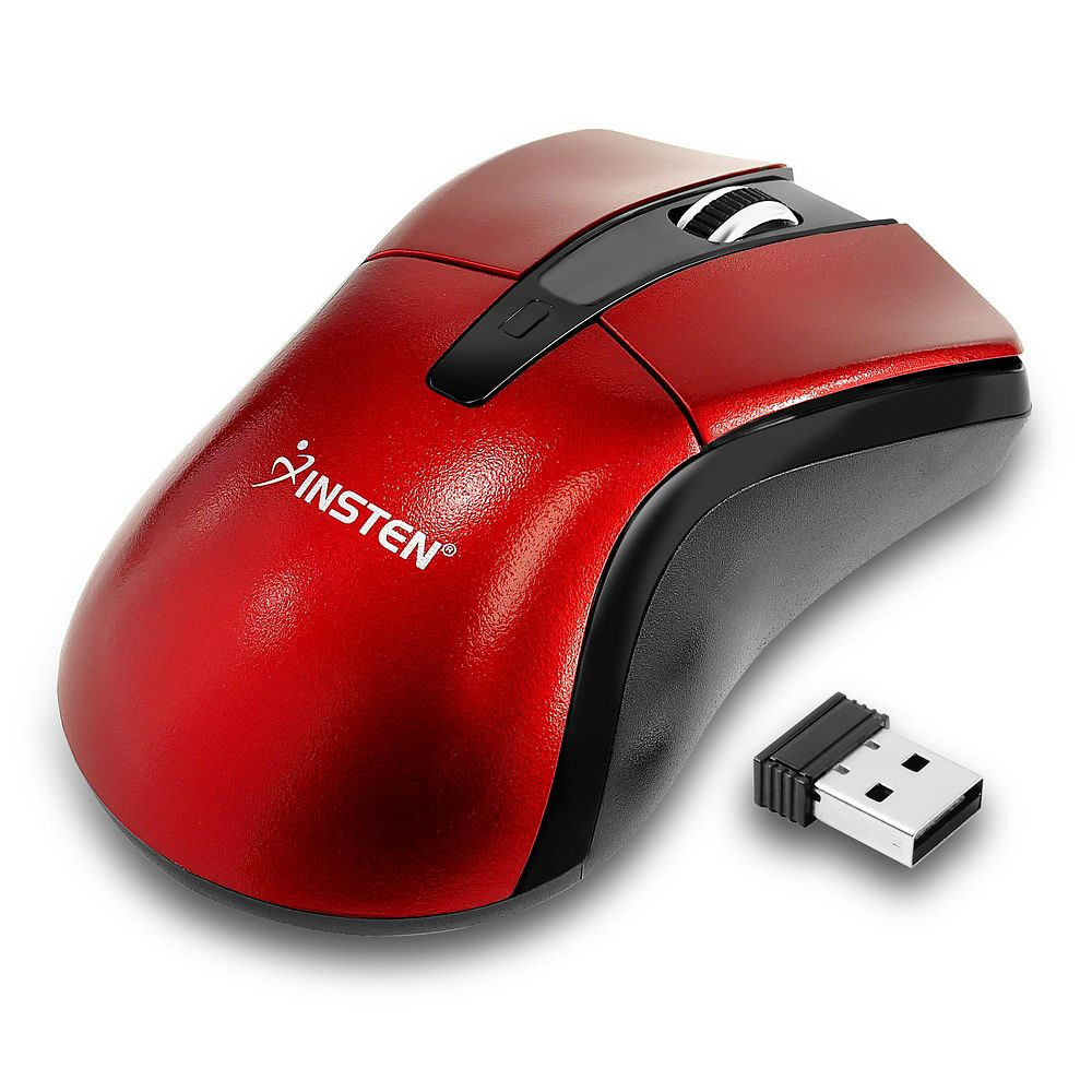 cordless Mouse by Insten Red 2.4G Cordless 4 Keys cordless Mouse with 800 1200 1600 DPI For Computer Desktop PC