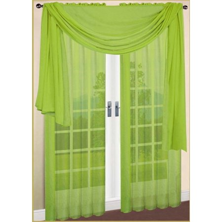 LuxuryDiscounts Beautiful Elegant Solid Lime Green Sheer Scarf Valance Topper 37
