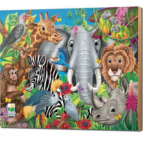 The Learning Journey 48-Piece Lift and Discover Jigsaw Puzzle, Animals of the World by The Learning Journey