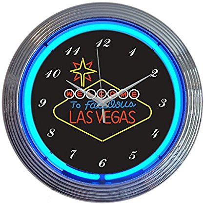 Neonetics Las Vegas Sign Neon Wall Clock, 15-Inch