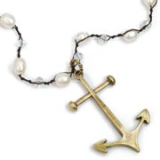 Sweet Romance Pewter Anchor and Tahitian Pearl Necklace Tahitian