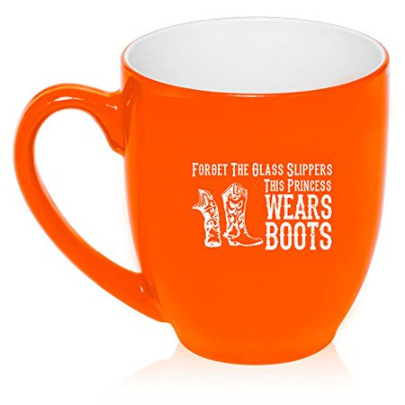 16 oz Large Bistro Mug Ceramic Coffee Tea Glass Cup Princess Wears Boots Cowgirl (Orange) - Cowgirl Ideas To Wear