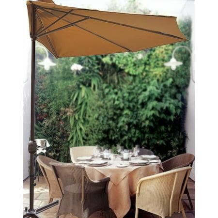 10' Patio Half Umbrella Wall Balcony Sun Shade Garden