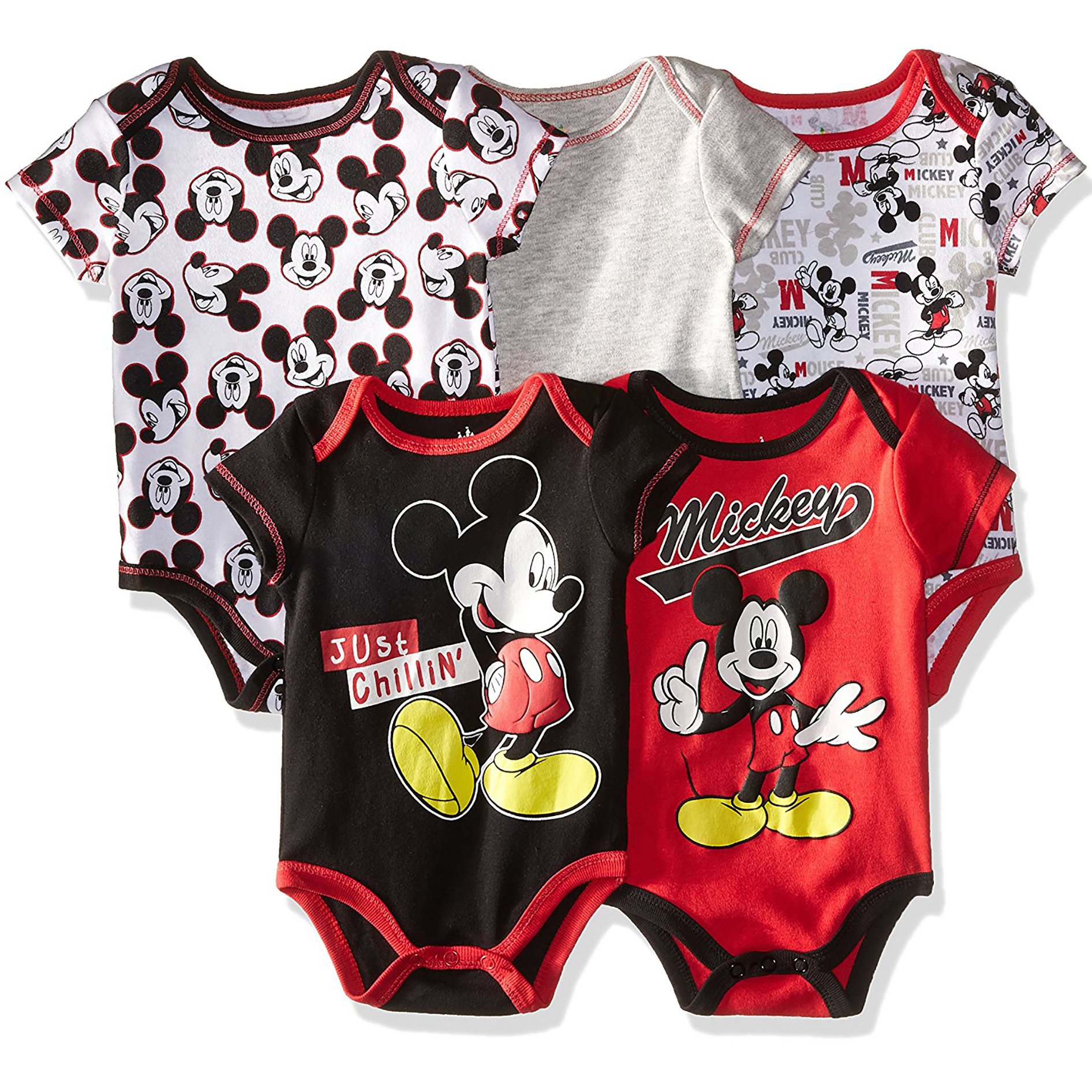 Disney Mickey Mouse Baby Boys' Onesies - 5 Pack Bodysuit (0-3 Months)