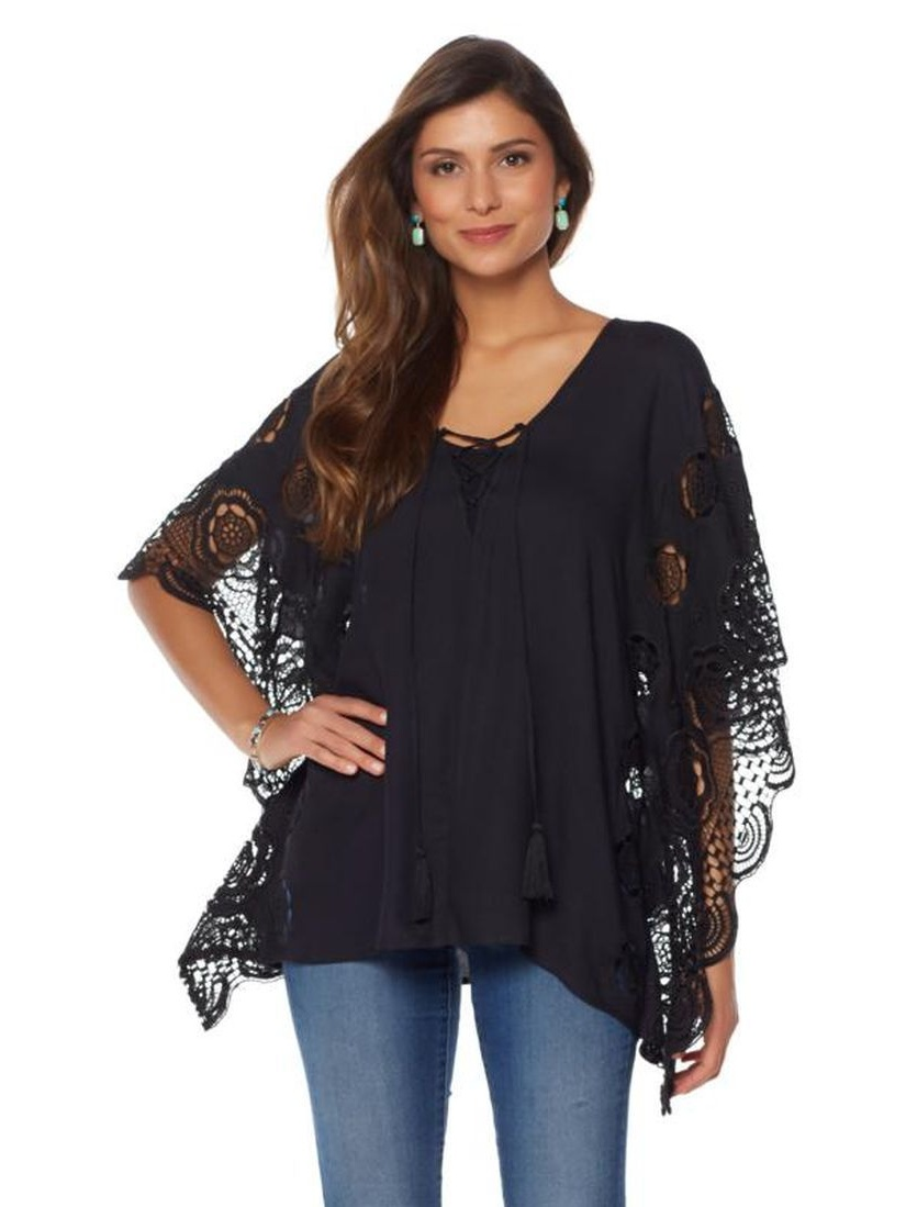 Colleen Lopez Lovely Lace Poncho Top 556-891 by