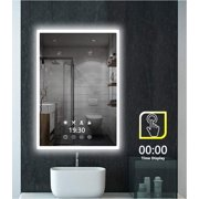 Led Lighted Bathroom Mirror with White/Warm White/Warm Color Temperature Changing, 32 x 24 inch Light Demist/Defogging Makeup Wall Mounted Mirror with Time Display