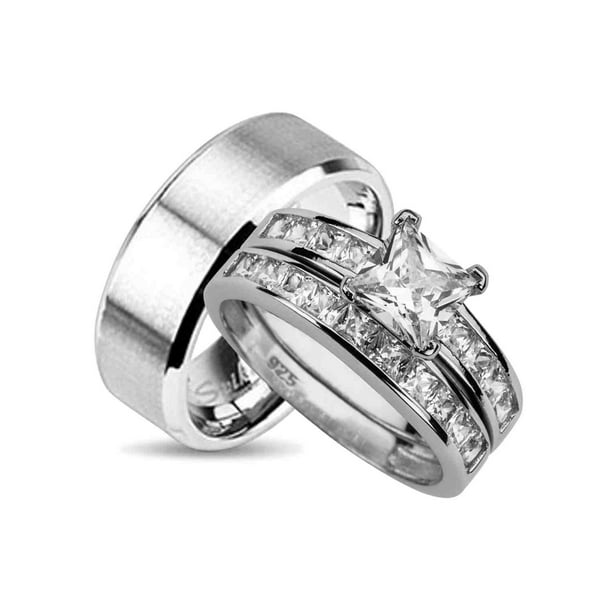 Laraso Co His And Hers Wedding Ring Set Matching Wedding Bands For Him And Her 9 12 Walmart Com Walmart Com