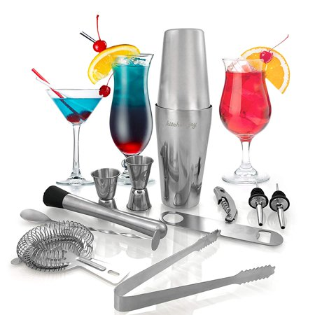 Kitchen Joy Cocktail Shaker Set, Professional Stainless Steel Bar Kit with 25 Ounce Boston Shaker Tin for Drink Mixing (12 Pieces) 12 Ounce Cocktail Shaker