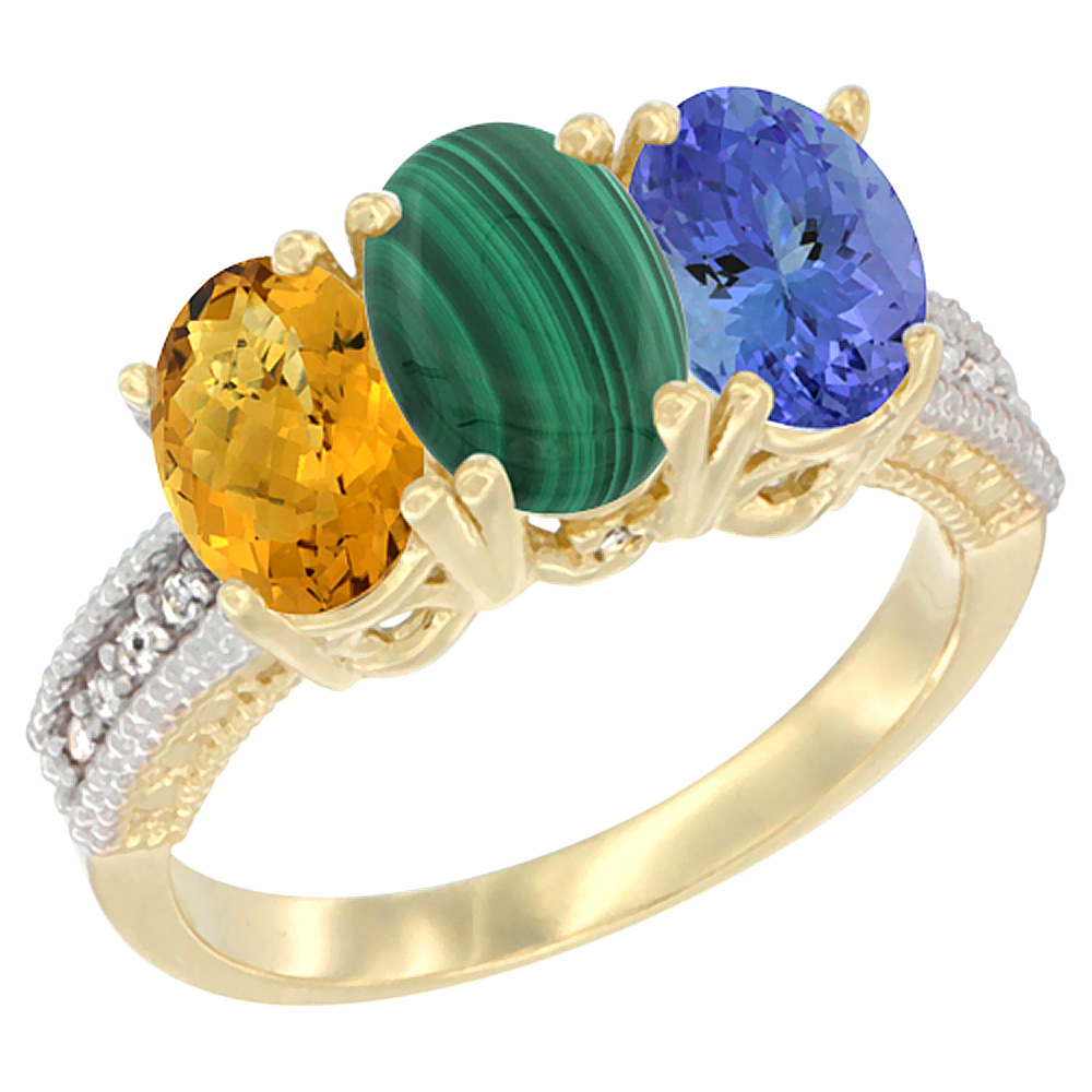 10K Yellow Gold Diamond Natural Whisky Quartz, Malachite & Tanzanite Ring 3-Stone 7x5 mm Oval, sizes 5 10 by WorldJewels