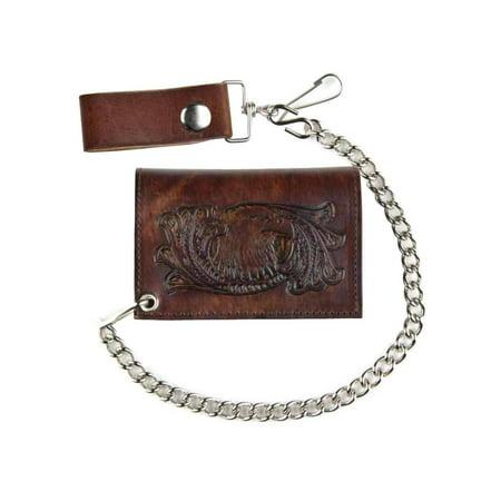 Genuine Leather Men's Eagle Head Antique Tri-Fold Biker Chain Wallet (Shooting Head Wallet)