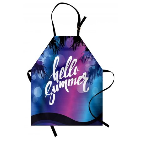 Hello Summer Apron Vivid Colors of the Night with Palm Tree Silhouettes and Ocean Waves Retro, Unisex Kitchen Bib Apron with Adjustable Neck for Cooking Baking Gardening, Multicolor, by Ambesonne