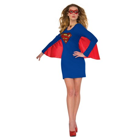 Womens Supergirl Halloween Costume Cape Dress with Wing - Supergirl Shirt With Cape